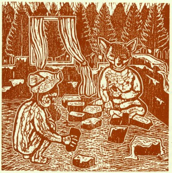 Lino cut caption